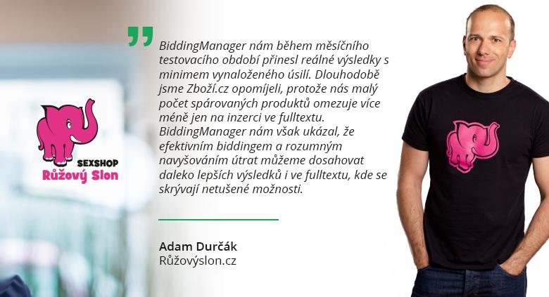 Co říká Adam Durčák z Růžovýslon.cz o BiddingManageru