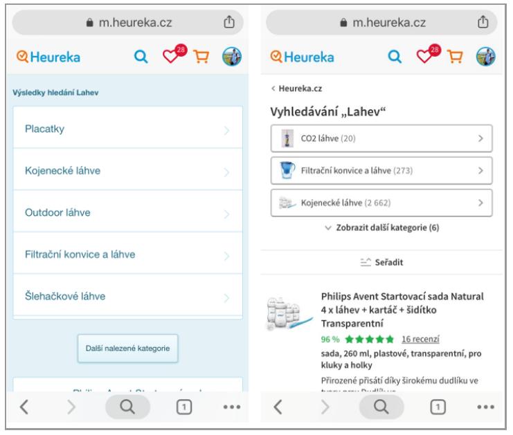 Vyhledávání v mobilní verzi Heureky
