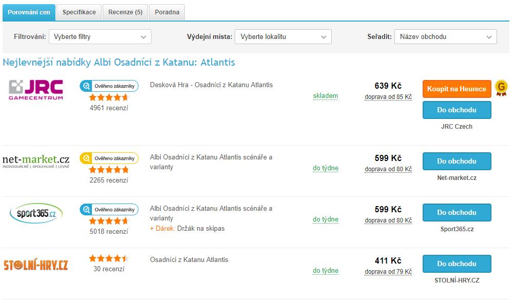 Detail produktu, nabídky všech e-shopů – bez použití filtru výdejních míst