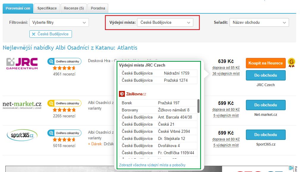 Detail produktu, filtrované nabídky e-shopů podle lokality České Budějovice