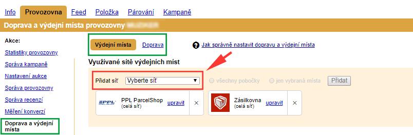 Nastavení výdejních sítí a dopravců v administraci Zboží.cz