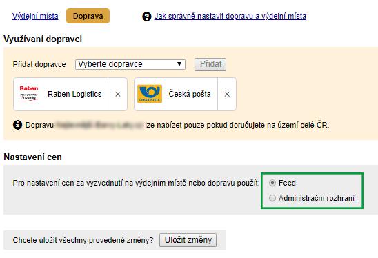 Nastavení tahání cen doprav z XML feedu