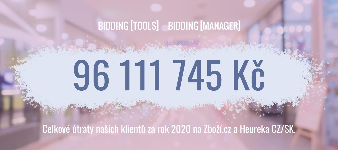 Útraty na srovnávačích u našich klientů BiddingTools, BiddingManager