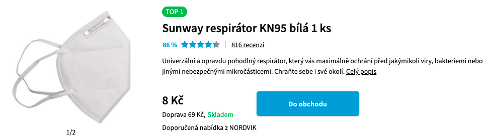 Produktová karta respirátor Heureka.cz