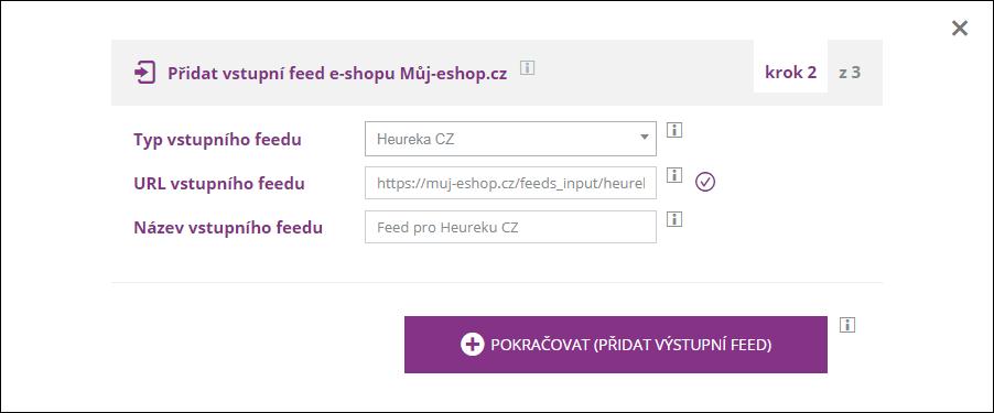 Přidání vstupního feedu